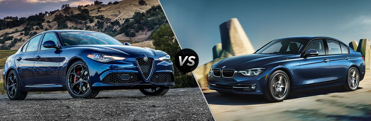 2018 Alfa Romeo Giulia vs 2018 BMW 3-Series exterior front of both cars