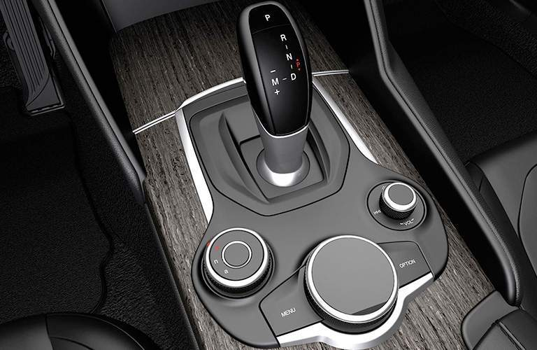 Alfa Romeo Giulia black gear shifter