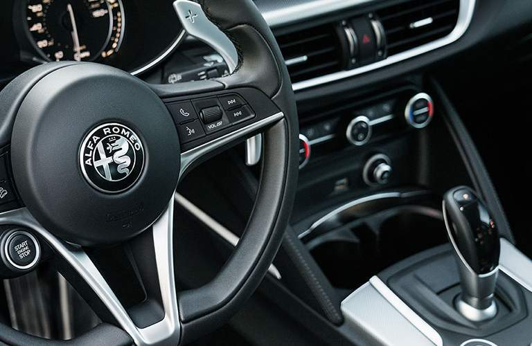 Steering wheel and gear shifter of 2018 Alfa Romeo Stelvio