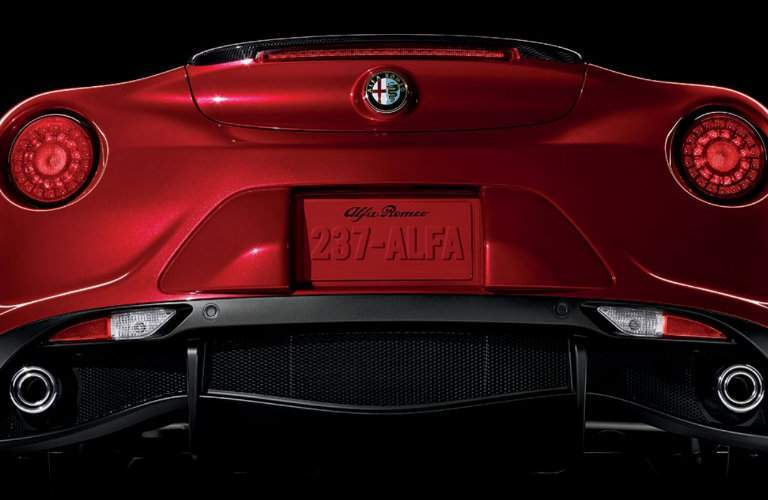 Rear taillights and exhaust pipes of 2018 Alfa Romeo 4C