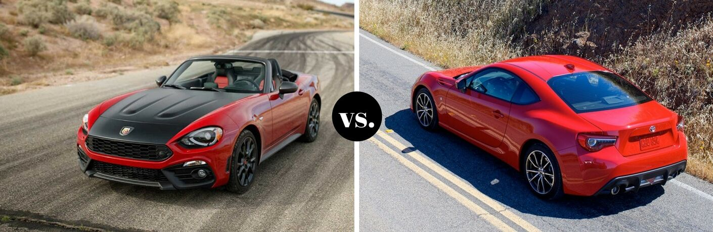Red 2018 Fiat 124 Spider positioned next to red 2018 Toyota 86 in comparison image