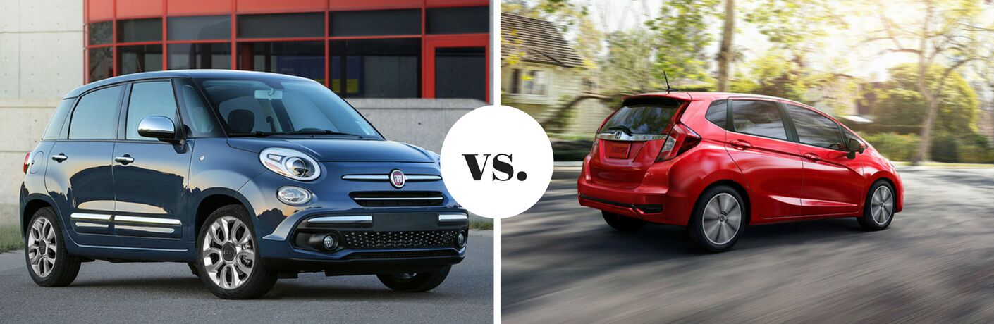 Blue Fiat 500L positioned next to Honda Fit in comparison image