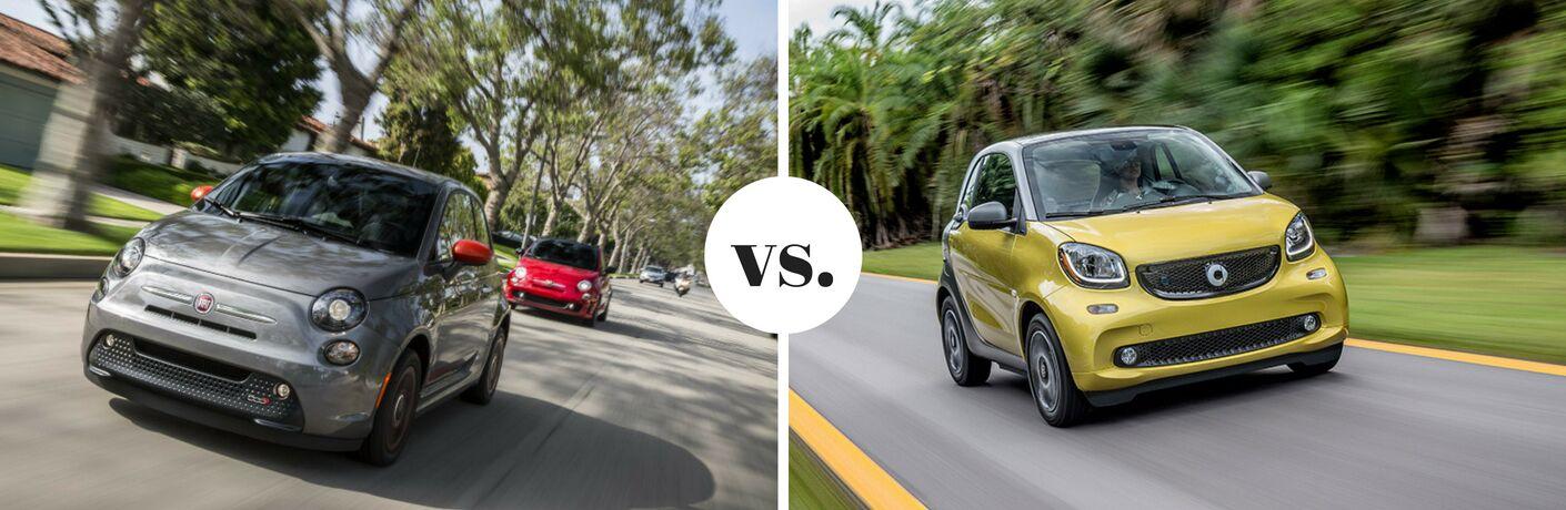 Gray Fiat 500e next to yellow Smart Fortwo in comparison image
