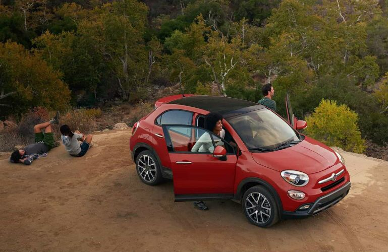 2018 FIAT 500X in the wilderness with a group of friends