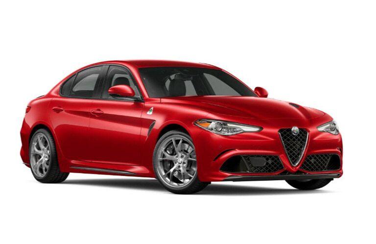 Red 2019 Alfa Romeo Giulia Quadrifoglio Front Exterior on White Background