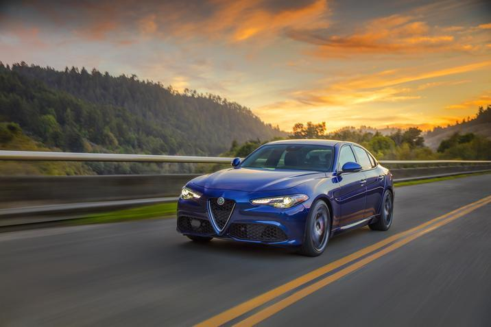 2019 Alfa Romeo Giulia sedan on the road