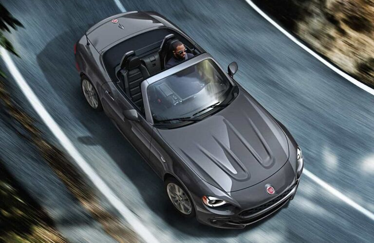 aerial view of gray 2019 fiat 124 spider
