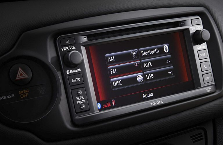 Closeup of infotainment center in 2016 Toyota Yaris