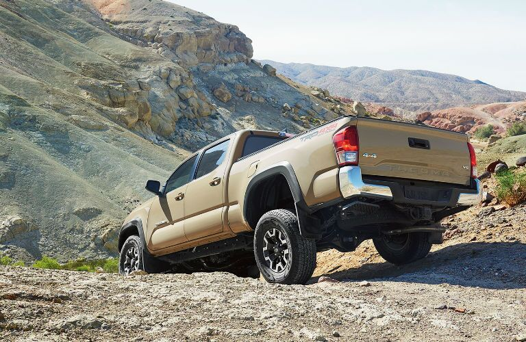 Rear and Side View of the 2017 Toyota Tacoma in Tan
