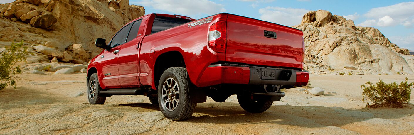 Red 2017 Toyota Tundra in desert