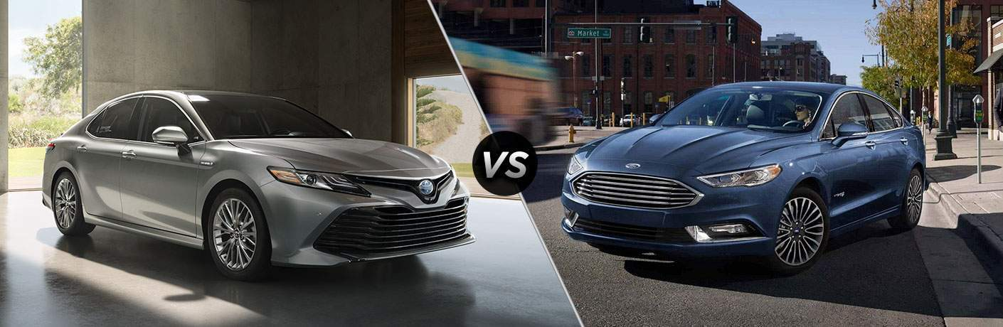 2018 Toyota Camry in Silver vs 2018 Ford Fusion in Blue
