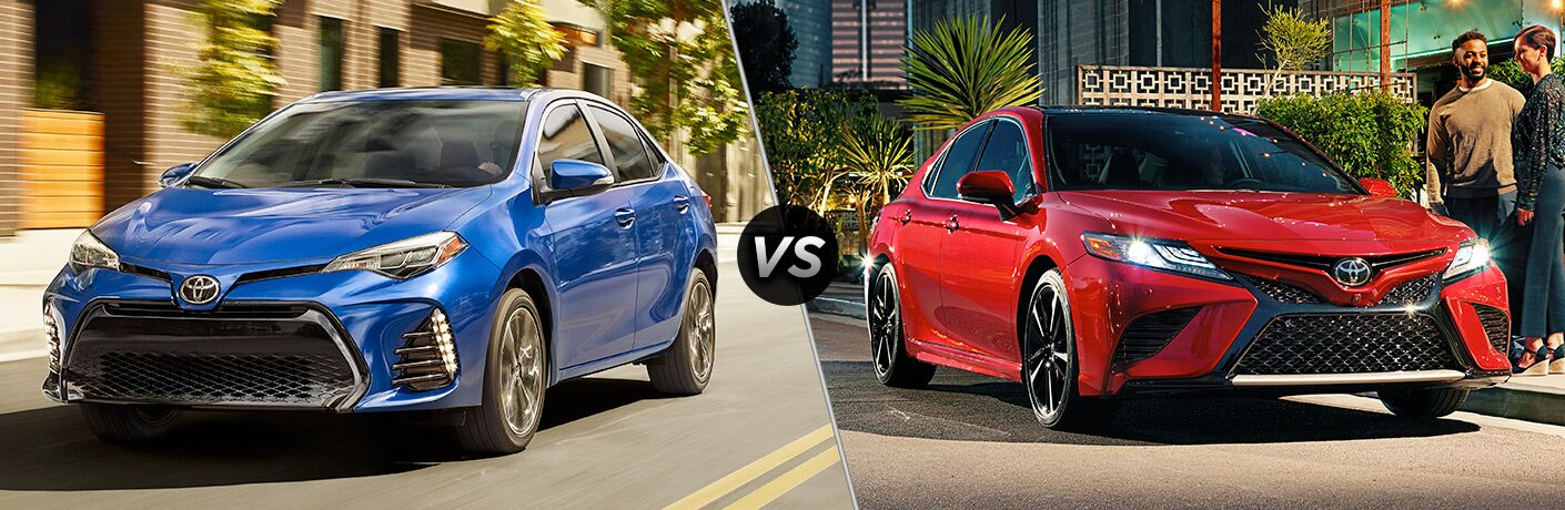 2018 Toyota Corolla in Blue vs 2018 Toyota Camry in Red