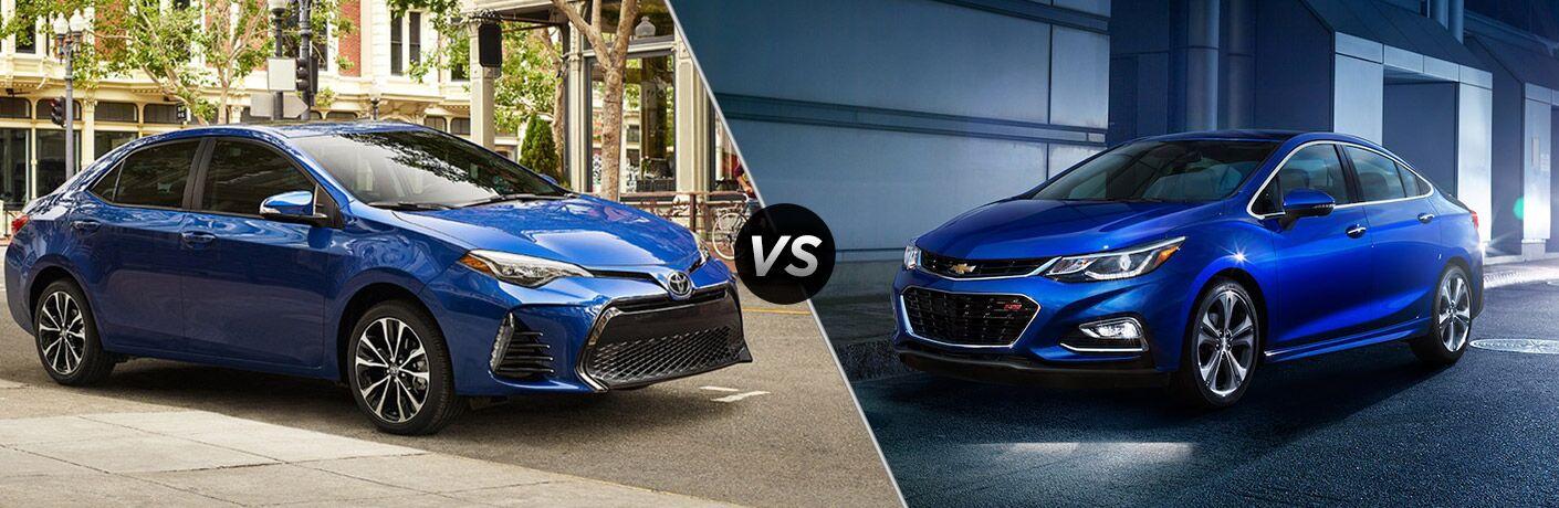 2018 Toyota Corolla in Blue vs 2018 Chevrolet Cruze in Blue