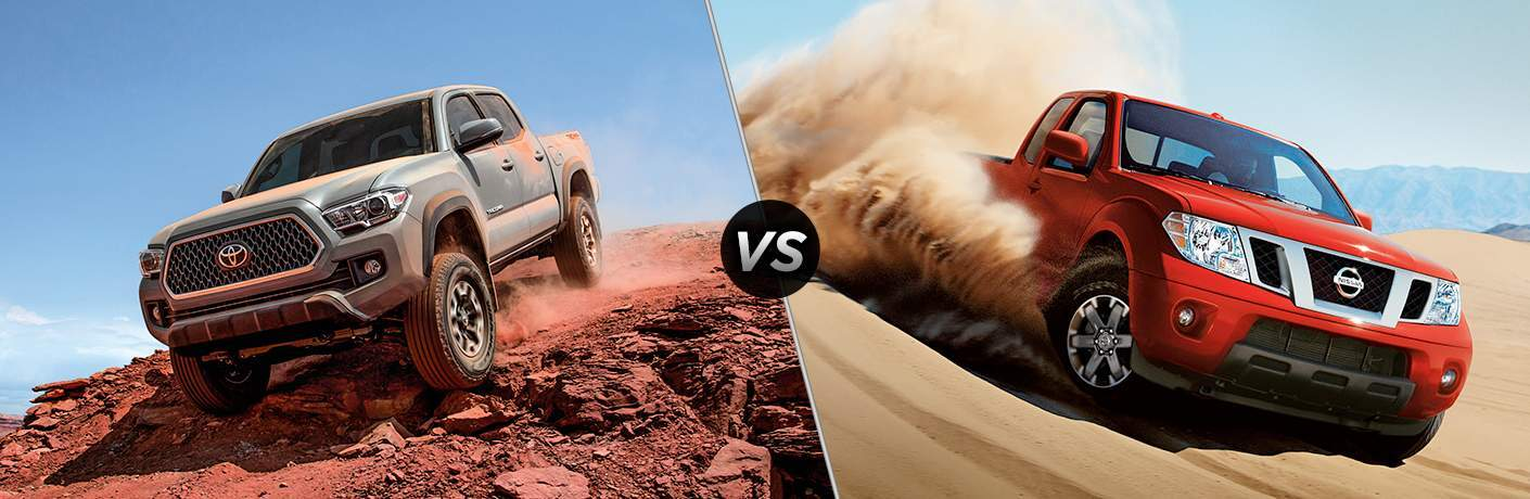 2018 Toyota Tacoma In Gray Vs 2018 Nissan Frontier In Red