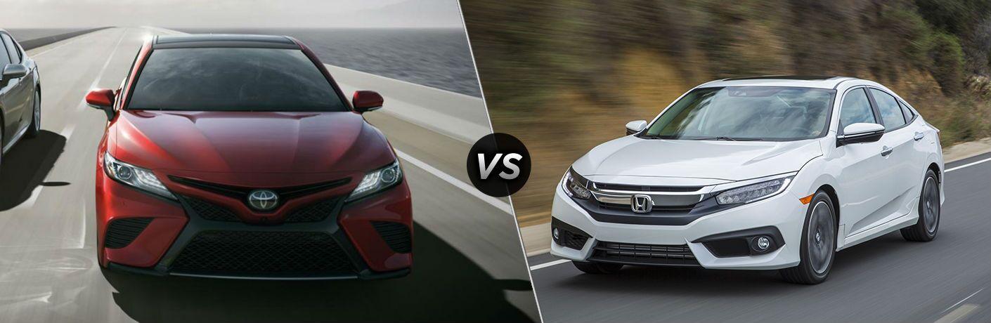2018 Toyota Camry in Red vs 2018 Honda Civic in White