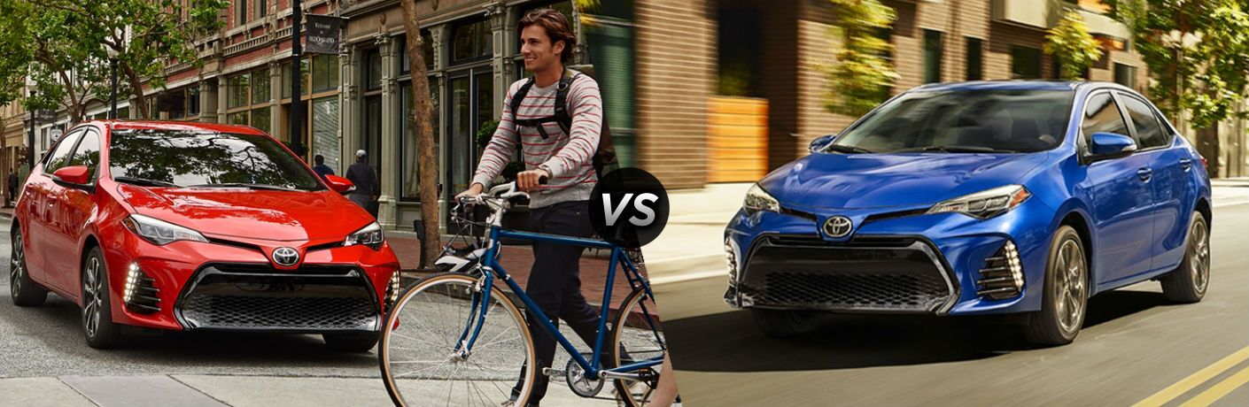2018 Toyota Corolla in Red vs 2017 Toyota Corolla in Blue