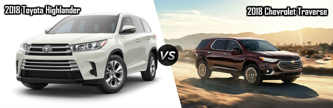 2018 Toyota Highlander in White vs 2018 Chevrolet Traverse in Dark Red