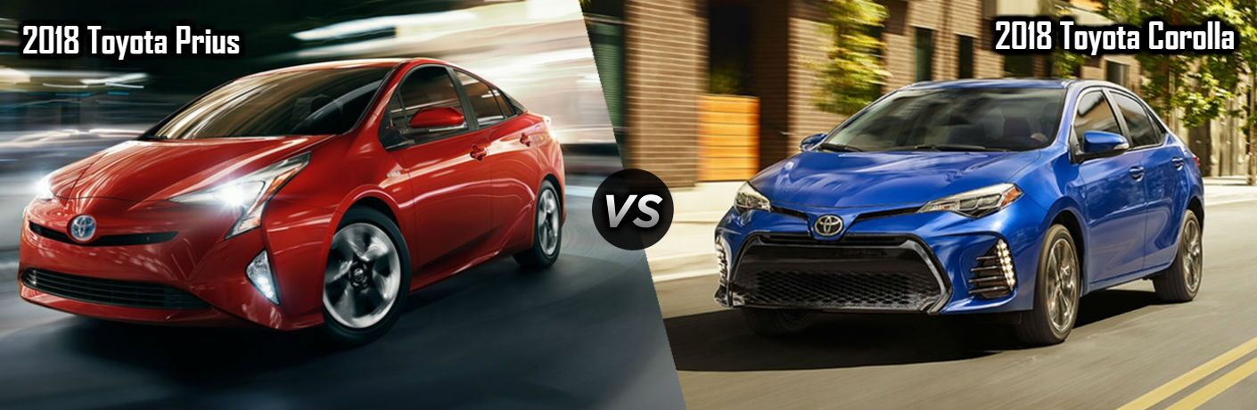 2018 Toyota Prius in Red vs 2018 Toyota Corolla in Blue