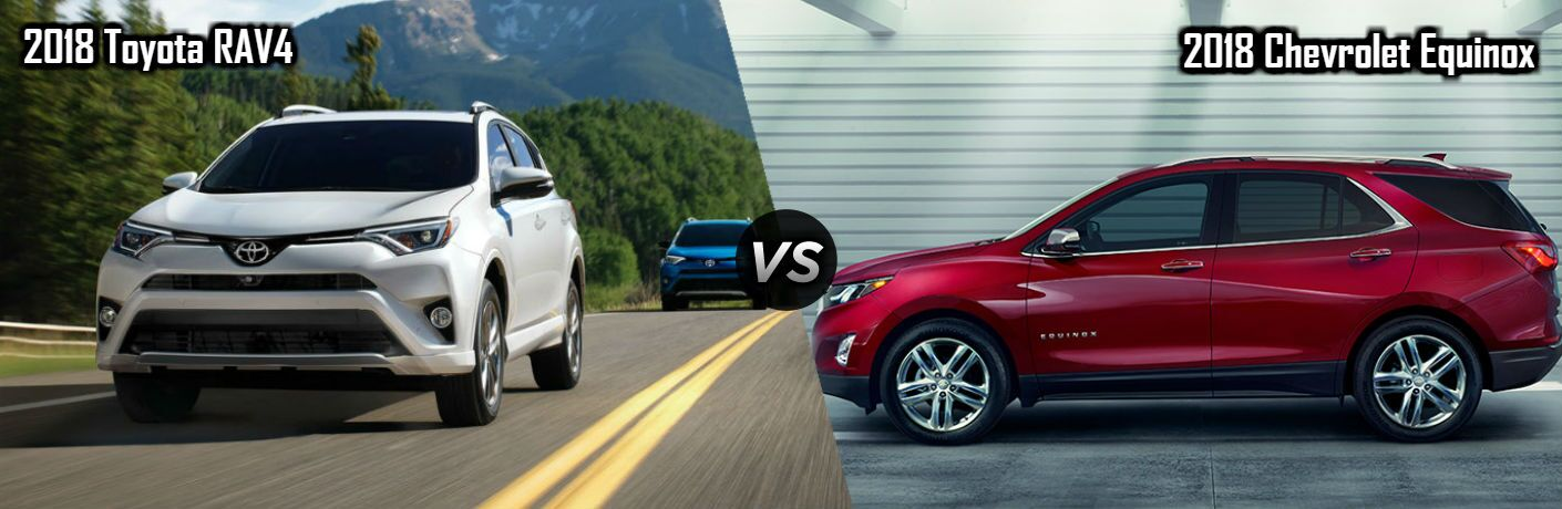 2018 Toyota RAV4 in White vs 2018 Chevrolet Equinox in Red