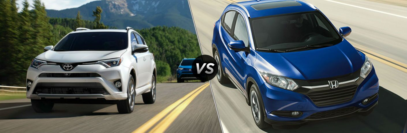 2018 Toyota RAV4 in White vs 2018 Honda HR-V in Blue