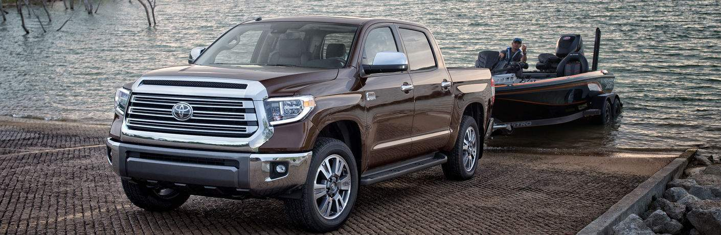 2018 Toyota Tundra Towing a Boat Exterior View in Burgundy