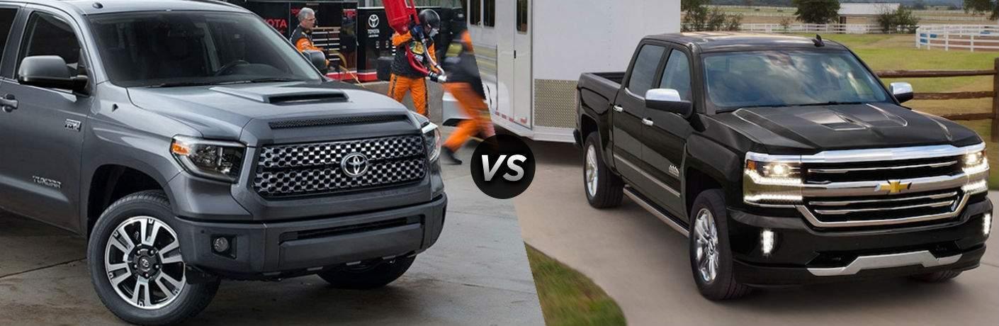 2018 Toyota Tundra in Silver vs 2018 Chevrolet Silverado 1500 in Black