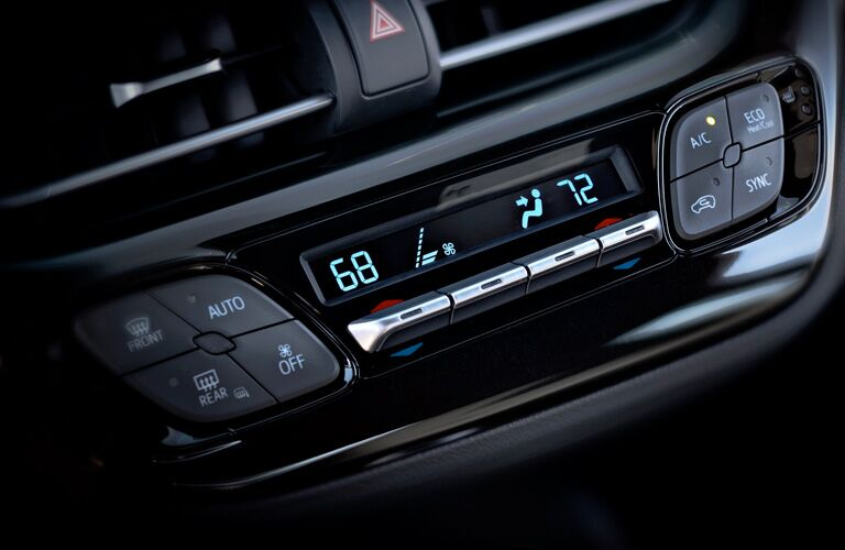 Closeup of climate control in 2019 Toyota C-HR