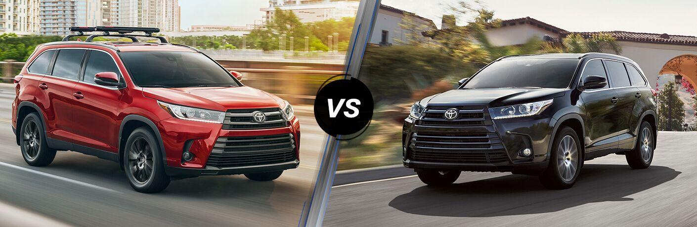 Red 2019 Toyota Highlander vs Black 2018 Toyota Highlander
