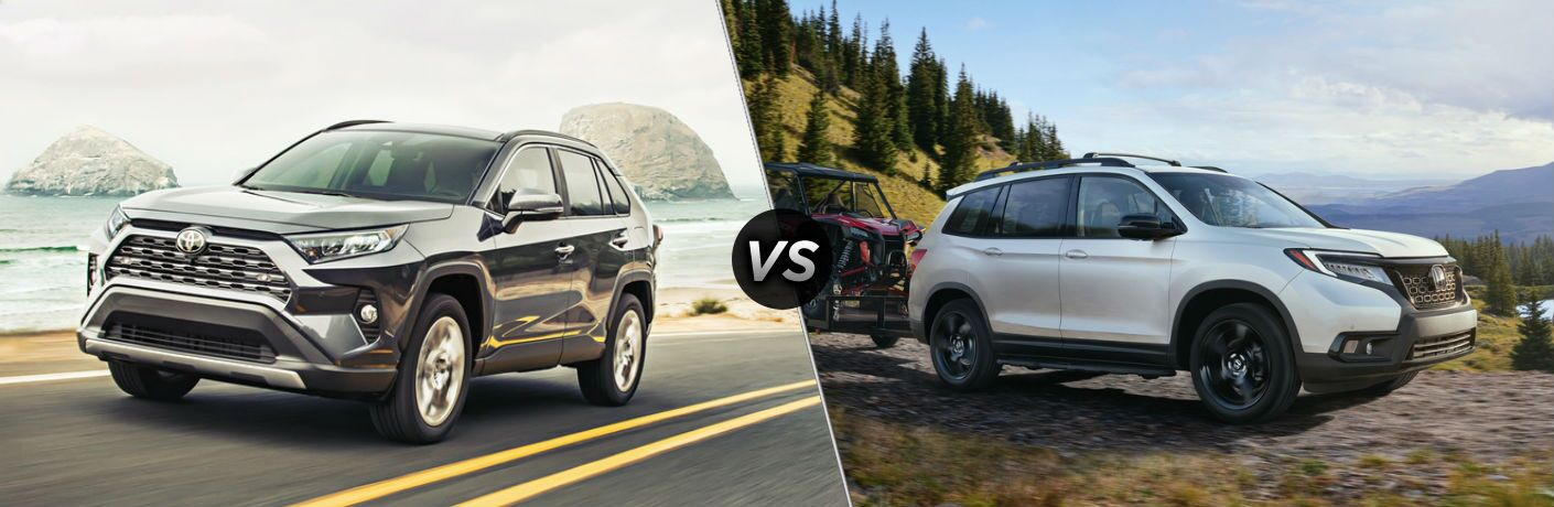 Silver 2019 Toyota RAV4 and white 2019 Honda Passport