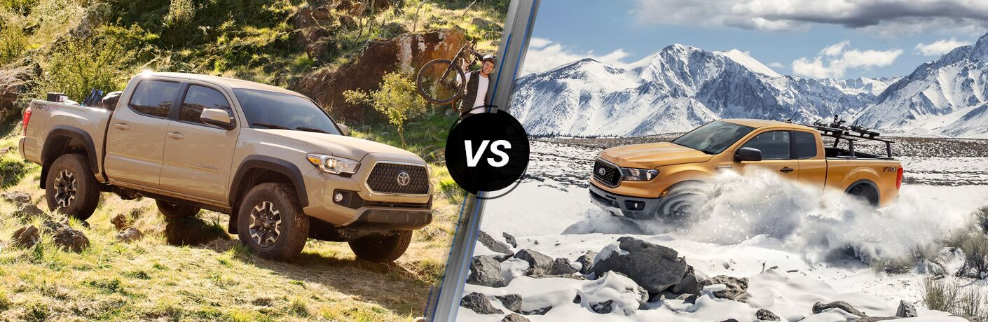 Tan 2019 Toyota Tacoma and yellow 2019 Ford Ranger