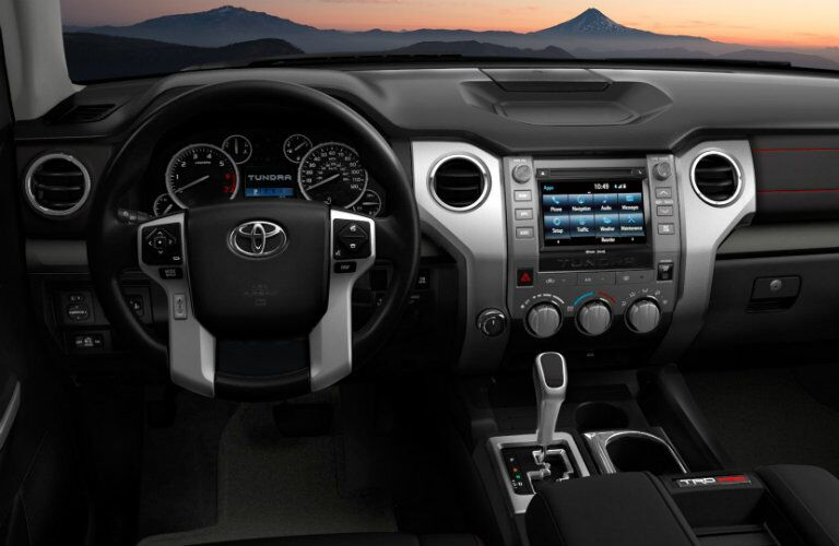 Steering wheel and dashboard in 2019 Toyota Tundra