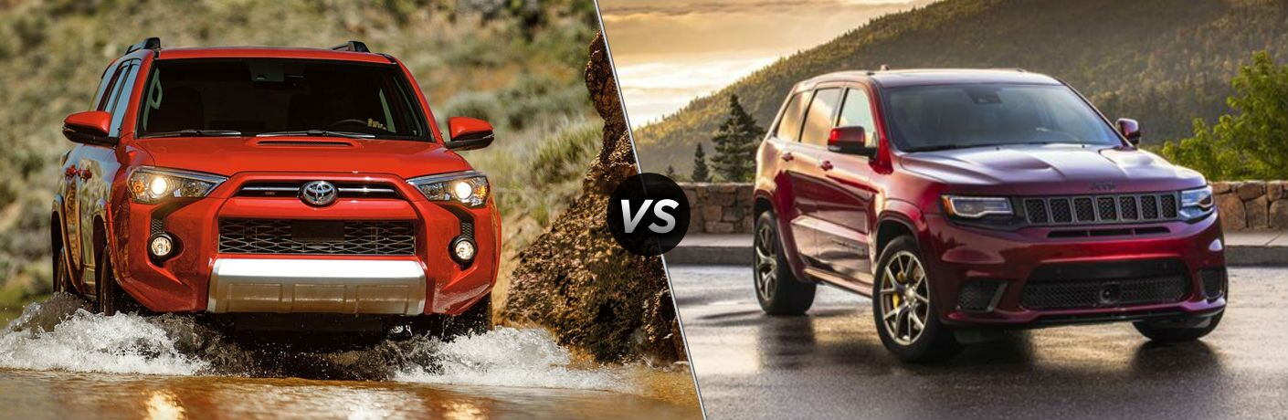 Red 2020 Toyota 4Runner and red 2020 Jeep Grand Cherokee