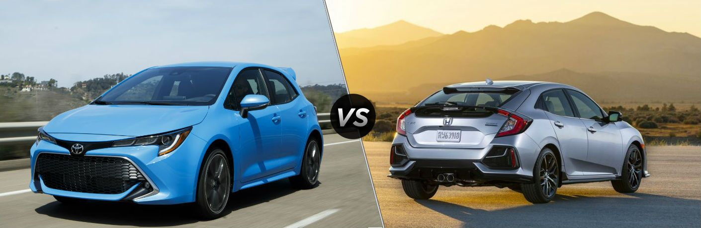 Blue 2020 Toyota Corolla Hatchback and silver 2020 Honda Civic Hatchback