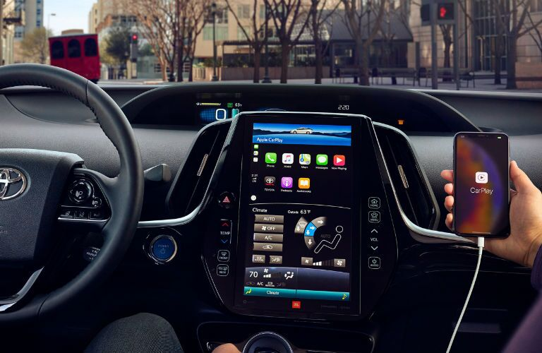 Interior view of 2020 Toyota Prius Prime with available infotainment features