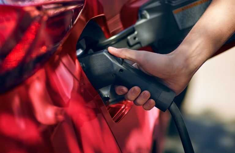 Closeup of hand holding plug-in charger to 2020 Toyota Prius Prime
