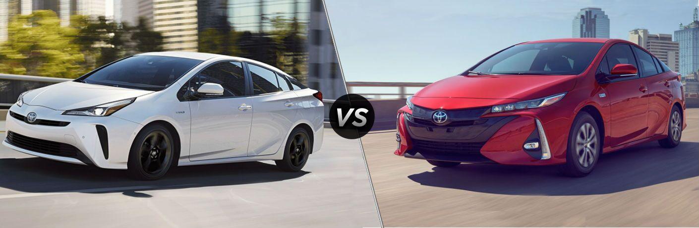White 2020 Toyota Prius and red 2020 Toyota Prius Prime