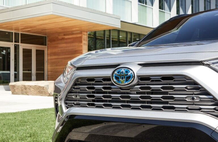 Closeup of grille on 2020 Toyota RAV4 Hybrid