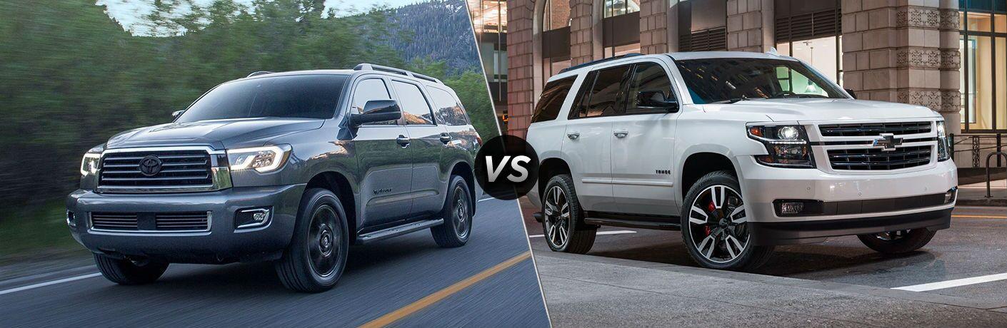 Gray 2020 Toyota Sequoia and white 2020 Chevrolet Tahoe