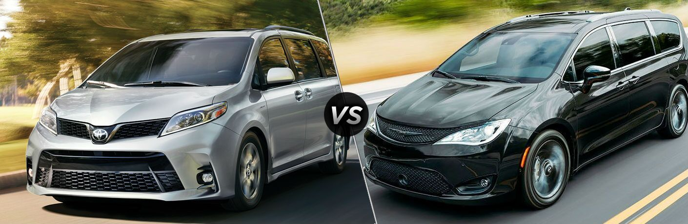 Silver 2020 Toyota Sienna and black 2020 Chrysler Pacifica