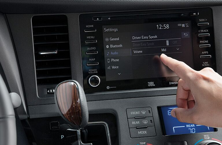 Closeup of infotainment center in 2020 Toyota Sienna