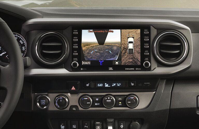 Closeup of rear view camera monitor in 2020 Toyota Tacoma