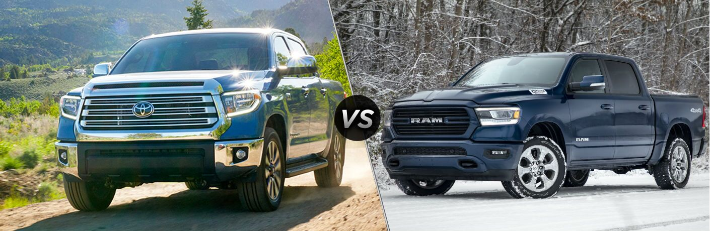 Blue 2020 Toyota Tundra and blue 2020 Ram 1500