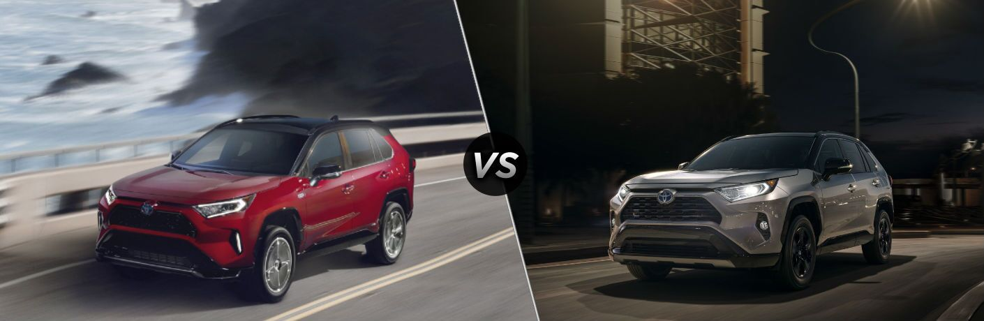 Red 2021 Toyota RAV4 Prime and grey 2020 Toyota RAV4 Hybrid