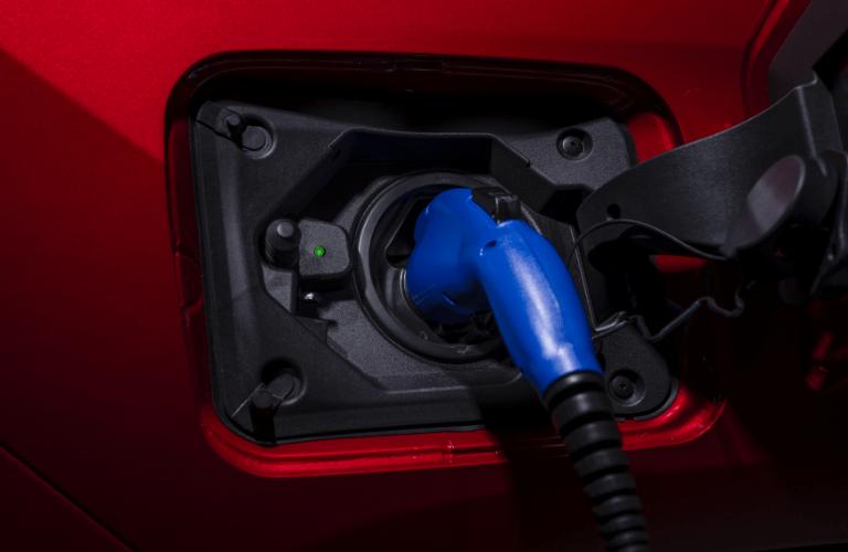 Closeup of 2021 Toyota RAV4 Prime charging