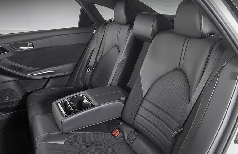 An interior photo of the rear seat in the 2019 Toyota Avalon.