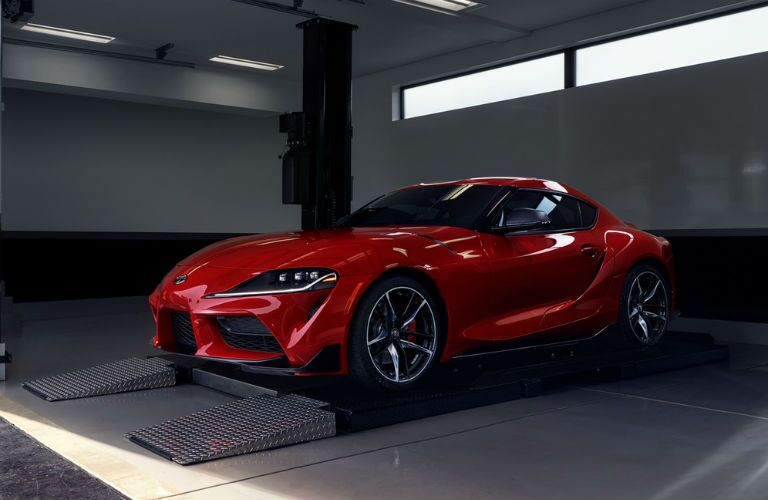 A photo of the 2020 Toyota Supra parked in a garage.