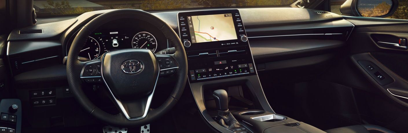 A photo of the front dashboard in the 2020 Toyota Avalon.