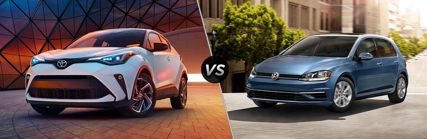 A side-by-side comparison of the 2020 Toyota C-HR vs. 2020 Volkswagen Golf.
