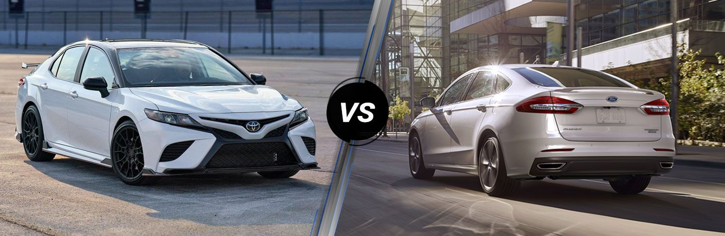 A side-by-side comparison of the 2020 Toyota Camry vs. 2020 Ford Fusion.