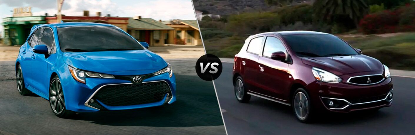 A side-by-side comparison between the 2020 Toyota Corolla Hatchback vs. 2020 Mitsubishi Mirage.